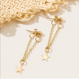 Gold Star Dangle Earring